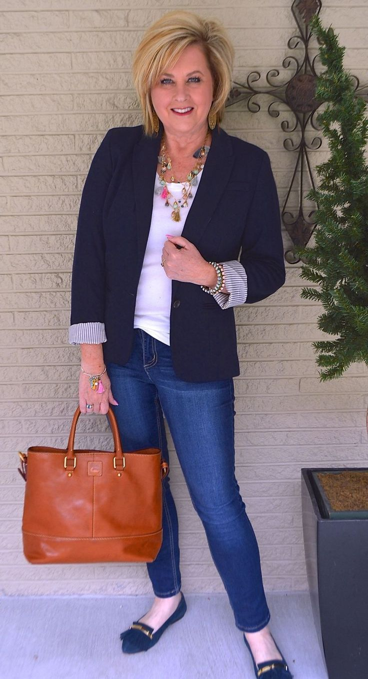 50 IS NOT OLD | T-SHIRT AND JEAN SERIES PART TWO | Classic Look | Blazer and Jeans | Fashion over 40 for the everyday woman