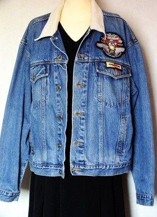À vendre sur #vintedfrance ! http://www.vinted.fr/mode-femmes/vestes-en-jean/51728115-authentique-veste-vintage-en-jean-marque-saugatuck-avec-patchs-joe-bar-team