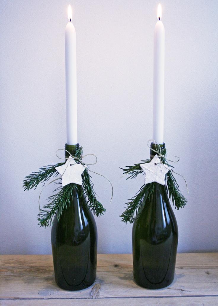 Easy christmas DIY! Deze kandelaars zijn eenvoudig zelf te maken. Leuk voor op tafel met kerst!