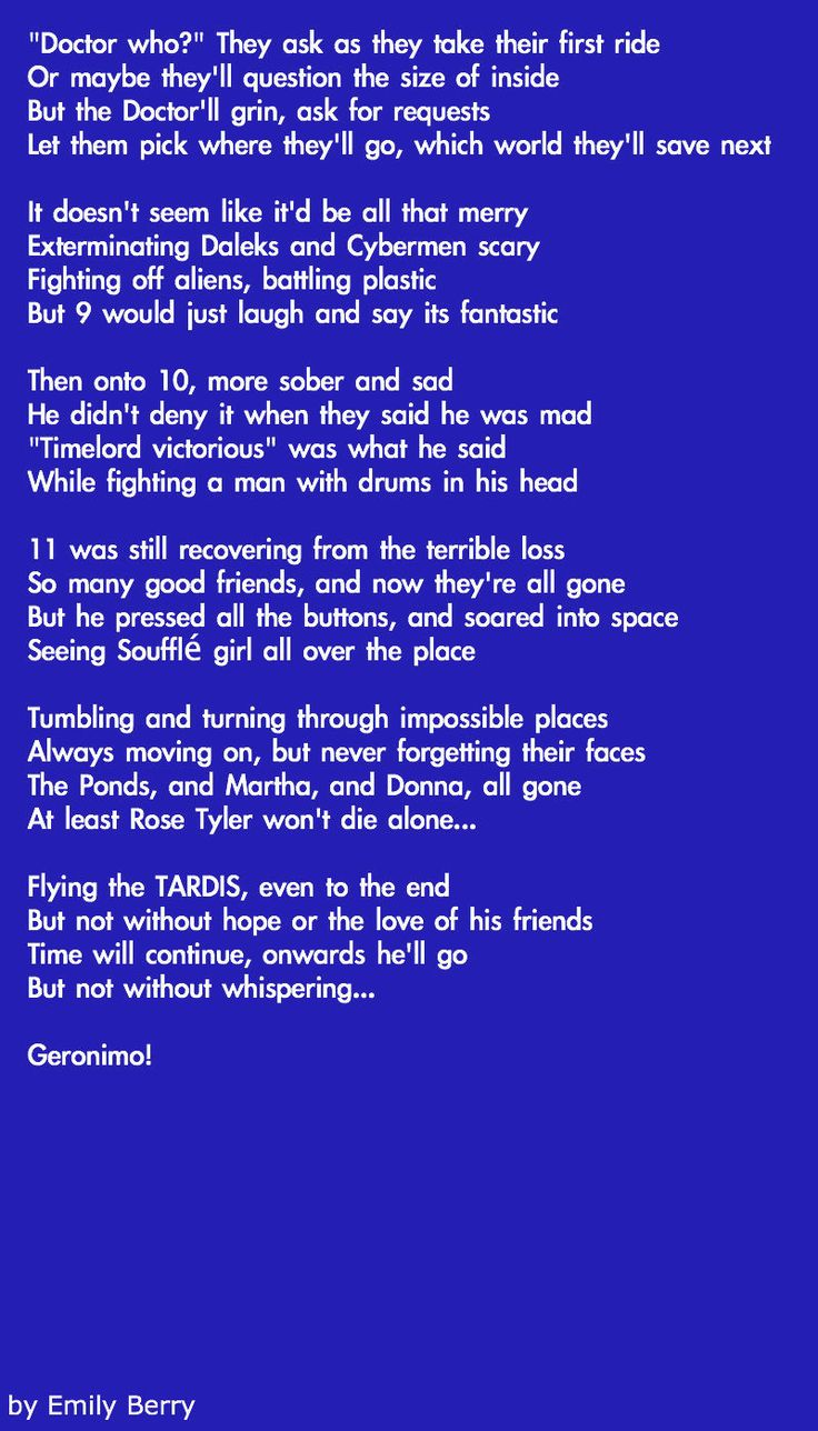 An amazing poem Emily Berry wrote about Doctor Who. <3