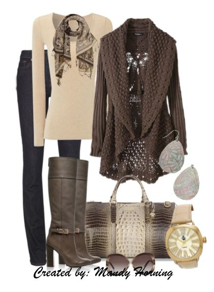 feat. Premier Designs jewelry #pdstyle jeans, white ls tee, brown boots and cardigan, snake bag and scarf