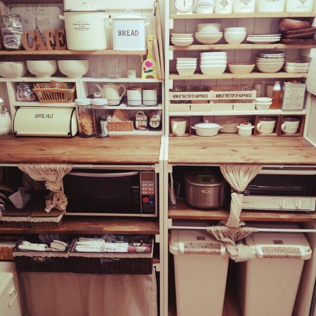 cocotteさんの、セリア,3Coins,見せる収納,お皿,3coinsアルファベット,DIY,DIY食器棚,お皿収納,salut!,seria,収納,キッチン収納,キッチン,のお部屋写真