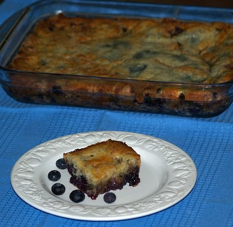 What is Independence Day? It is celebrated with desserts like this blueberry cobbler recipe. It is baked in a 9x13 baking pan for 50 to 60 minutes.