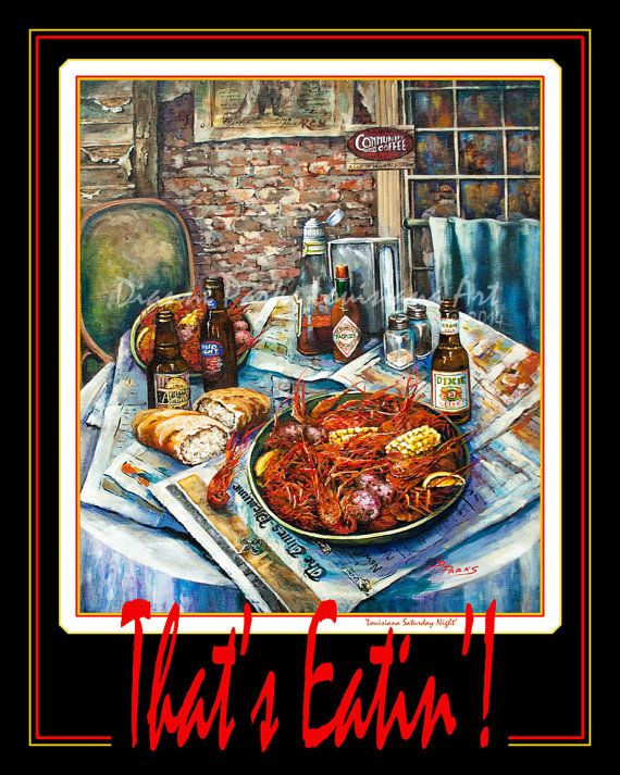 That's Eatin! Art Poster - Boiled Crawfish, Dixie Beer, Abita, Tabasco FREE SHIPPING! Louisiana Crawfish, New Orleans Art on Paper or Metal