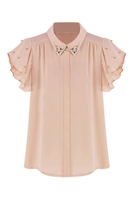 ROMWE | ROMWE Beaded Flouncing Casual Pink T-shirt, The Latest Street Fashion