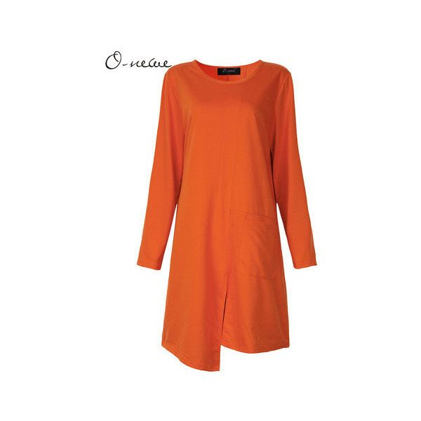 O-Newe Plus Size Solid Long Sleeve Split Asymmetric Mini Dress For... ($21) ❤ liked on Polyvore featuring dresses, orange, women plus size dresses, short mini dress, long sleeve asymmetrical dress, long sleeve dress, asymmetrical dress and orange plus size dress