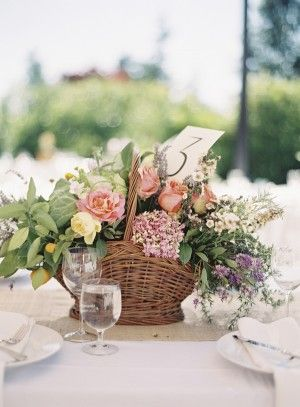 Rustic wedding Centerpiece in Basket | Photography by http://braedonphotography.com/