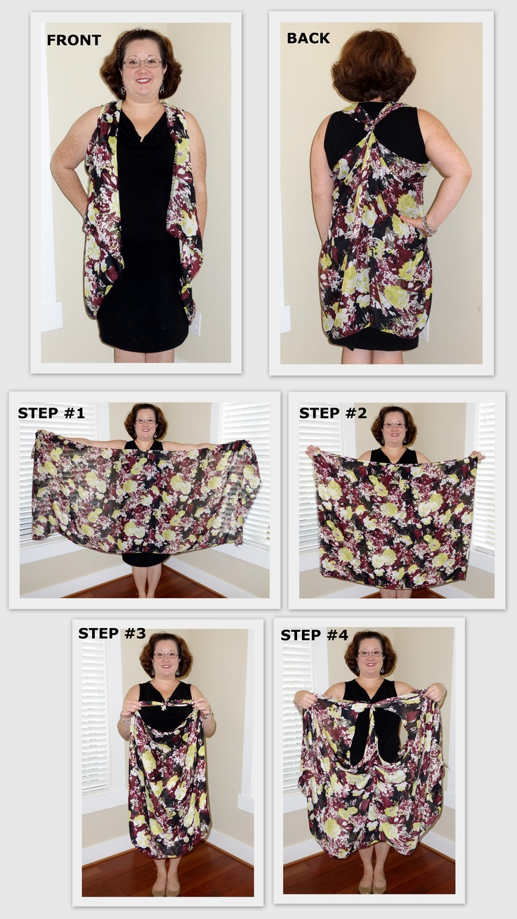 How to tie a scarf into a vest! This is a great way to use a scarf to spice up your wardrobe. This one is from kikaPaprika and only costs $28. All proceeds are donated to women and families in need! Visit my blog for more instructions! http://monicakika.blogspot.com/2012/11/how-to-tie-scarf-into-vest.html