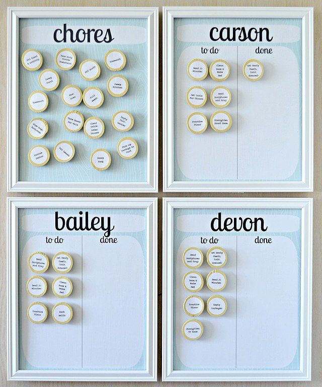 """Lemon Squeezy Home's magnetic chart makes it easy for kids to """"cross"""" things off their list as they are completed.   Source: Lemon Squeezy Home"""