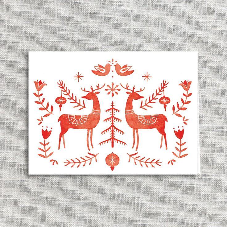 Julianna Swaney, christmas, greeting card, print, lino, scandinavian, folk art, illustration, deer, nature