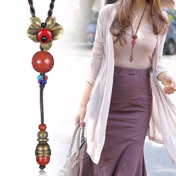 Retro Rope Flower Ceramic Beads Pendant Necklace Jewelry