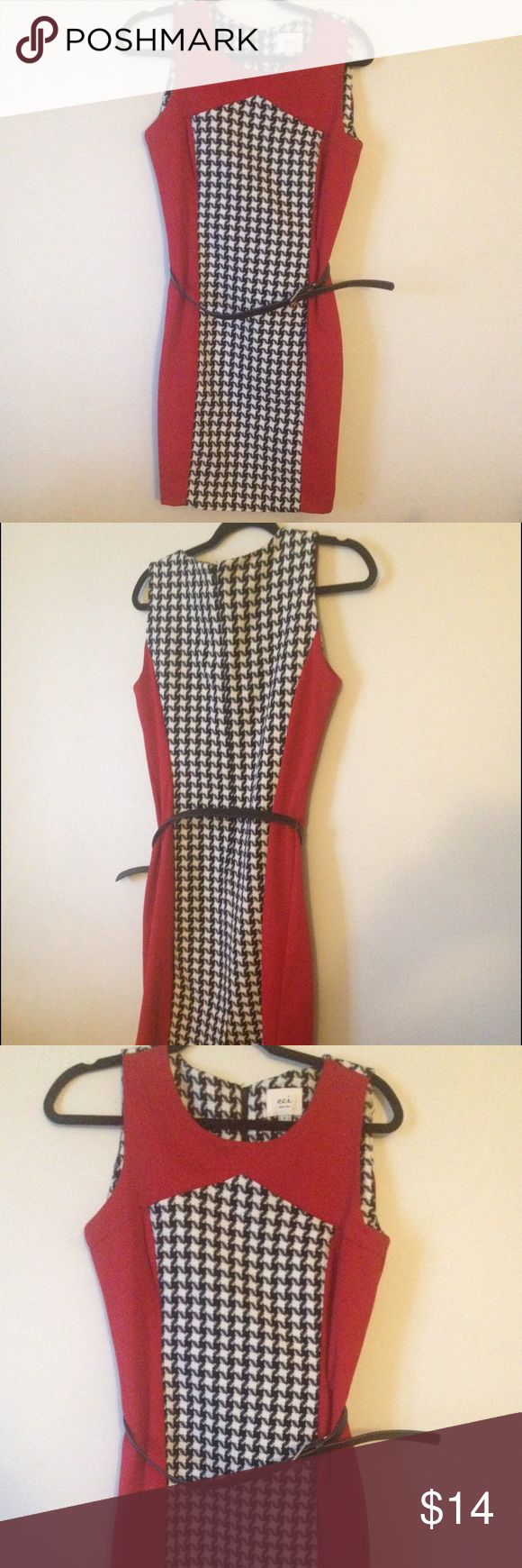 Classy colorblock belted houndstooth dress Red / black/white houndstooth printed dress , great condition! 16' bust ECI Dresses Midi