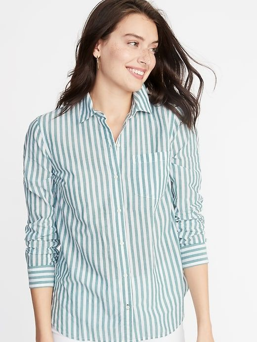 8caf7b01eb802c Old Navy Women s Striped Classic Shirt Green Stripe Big And Tall Size XL