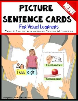 Autism Picture Sentence Cards for Reading/Writing/Sentence Building Just PRINT AND GO - NO velcro needed! Your students will begin reading and building sentences by using repetitive sight word text and real-life pictures that children are familiar with.