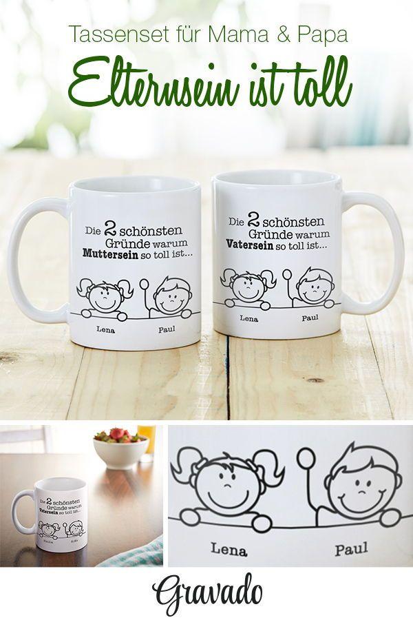 Bedruckte Tasse - 2er Set - Gute Gründe für Eltern - Personalisiert ...