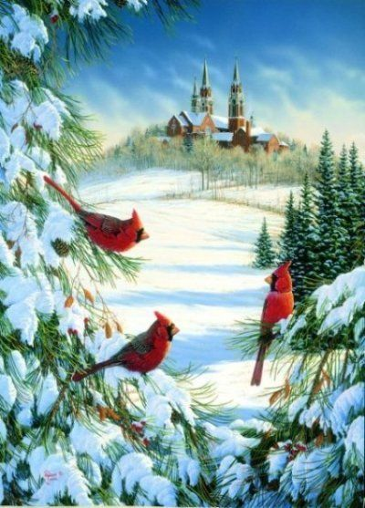 Three cardinals holiday landscape -- by Sam Timm