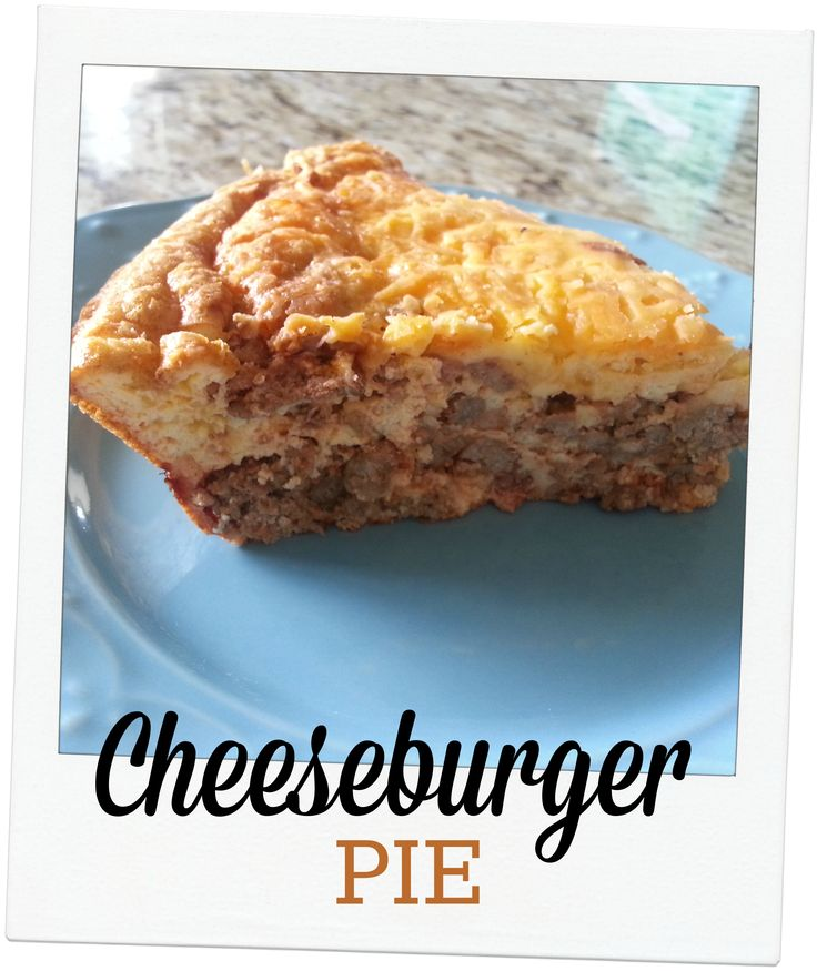 "Cheeseburger Pie (S) - oven to 375°. Cheeseburger Layer 1lb ground beef 1 onion,  5 slices bacon, chopped 1 t mustard 1 T sf ketchup 2 t Worcestershire  1/2 t pepper 1 C cheese. Brown beef, onion, and bacon in large skillet, drain well.  Put in lightly greased 9"" pie plate.  Add cheddar cheese. 1/3 C almond flour 6 eggs 1 C heavy cream 1 C cheddar cheese Combine w/out cheese pour over beef and bake for 25 min./+cheese and bake for 10 min more.   Let sit 5 minutes before slicing and serving."