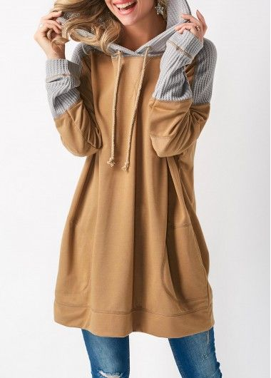 Khaki Pocket Long Sleeve Patchwork Hoodie on sale only US$34.27 now, buy cheap Khaki Pocket Long Sleeve Patchwork Hoodie at liligal.com