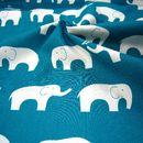 Bio-Stoffe - BIO Baumwolle Stoff Ellie Fam Elefant petrol blau - ein Designerstück von AnneSvea-Stoffe bei DaWanda --> Stoff für die Babydecke?!