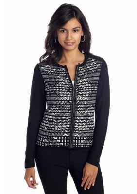 Ruby Rd  Petite Graphite Art Jacquard Sweater