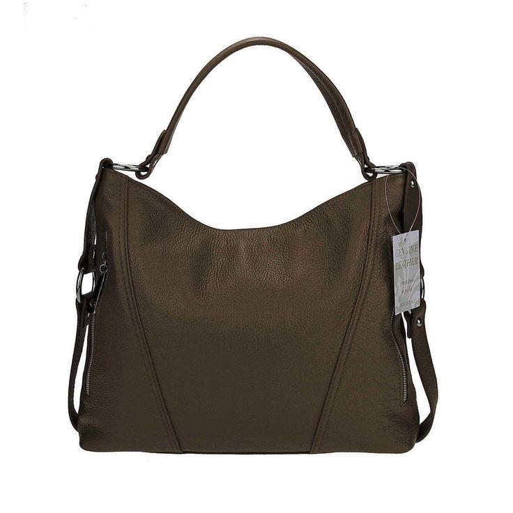 ICYMI: Made in Italy echt Leder Vera Pelle Shopper Henkeltasche Umhängetasche Tasche Taupe/Schlamm: Made in Italy echt Leder Vera Pelle… – Italyshop24.com