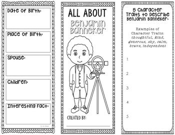 Benjamin Banneker Research Project Brochure with Interactive Notebook Pocket. This two-sided tri-fold mini book template allows students to dig deeper into facts about this important American figure. An interactive notebook pocket has been provided, however, this brochure can be created as a stand alone project as well.