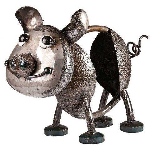 Earth De Fleur Homewares   Oink The Pig Large Metal Garden Art Silver
