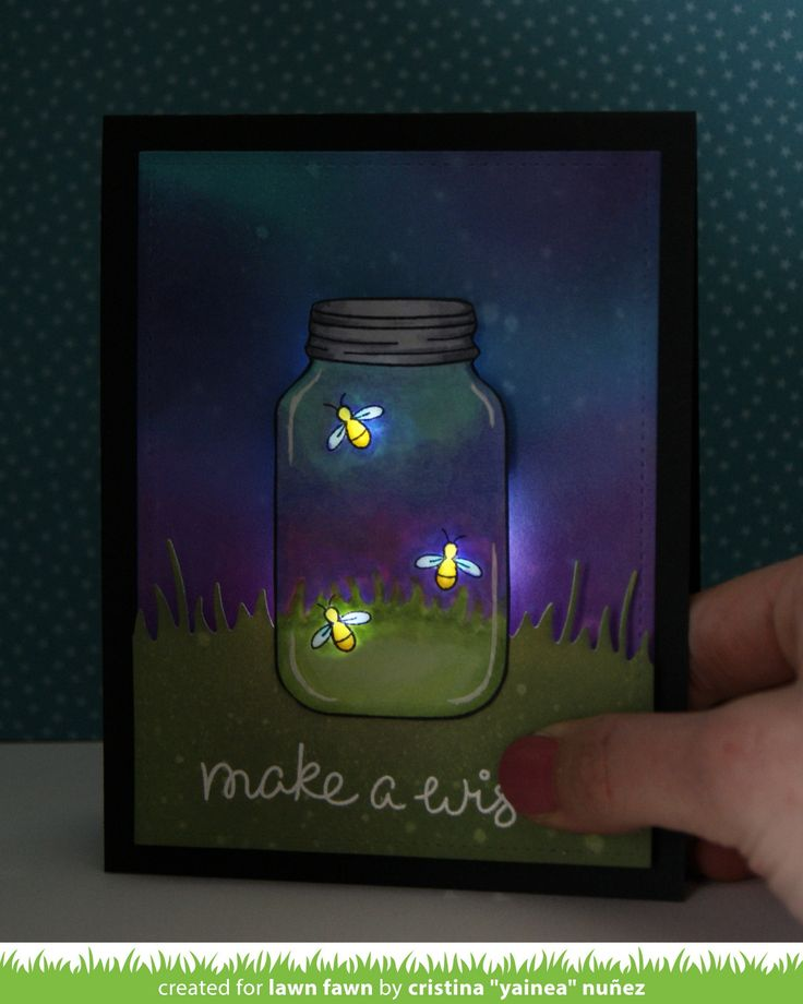 Lawn Fawn - Summertime Charm, Party Animal, Meadow Borders, Stitched Rectangle Stackables _ a light up fireflies card by Yainea for the Lawn Fawn blog: A Fun Collaboration with Chibitronics! + video