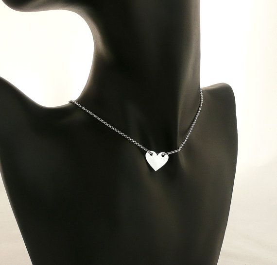 Sterling Silver Heart Necklace Celebrity Necklace Everyday Simple Jewelry Minimal Trendy Necklace