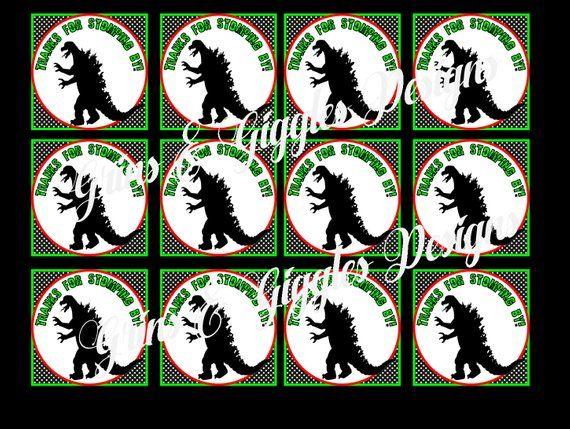 Godzilla Birthday Favor Tags INSTANT DOWNLOAD Godzilla Birthday