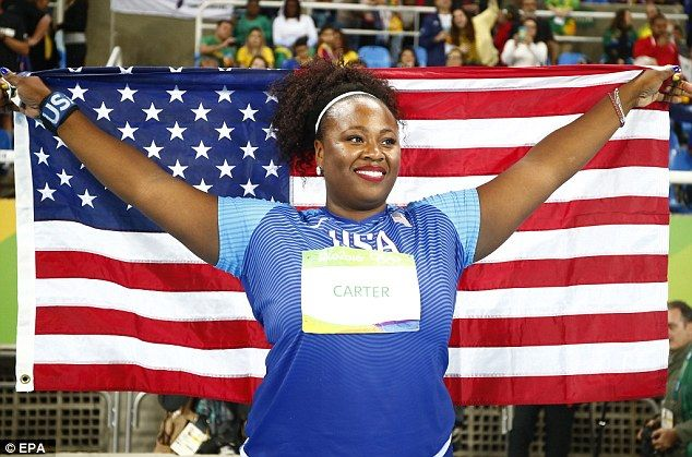 Michelle Carter of the USA celebrates after winning the women's Shot Put final of Rio; it was the first ever shot put gold for an American woman
