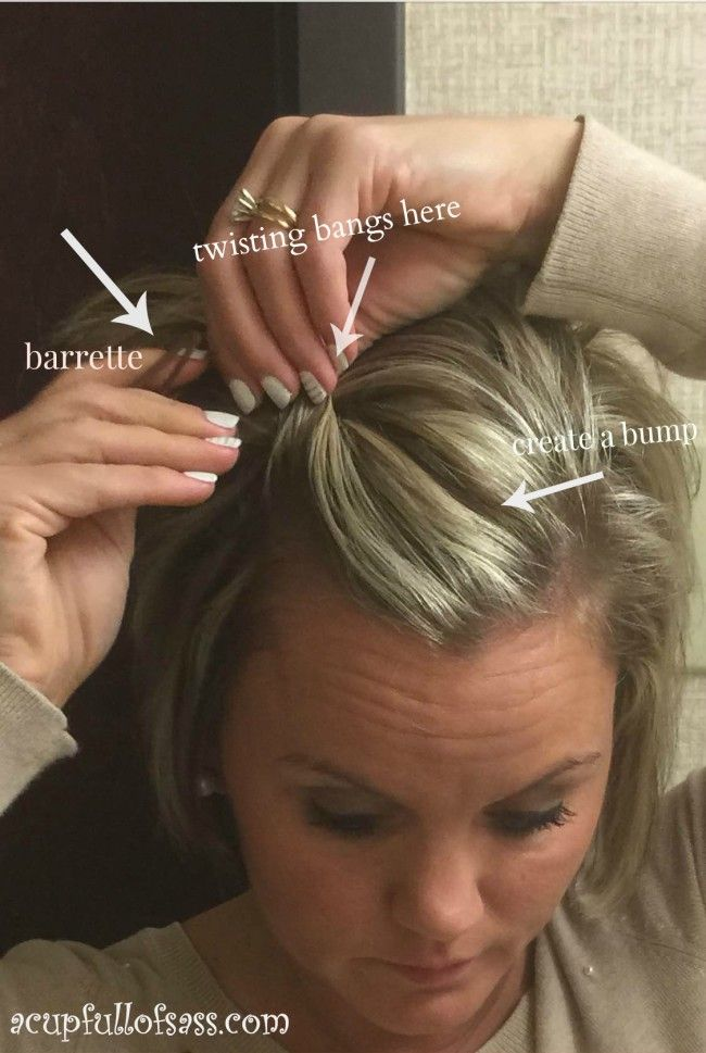Twisted bangs for short hair. Super easy cute look for short hairstyle.