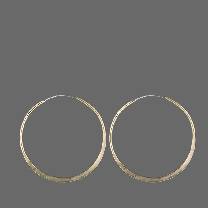 Jewelry Large Hammered Brass Hoop Earrings  Angle1