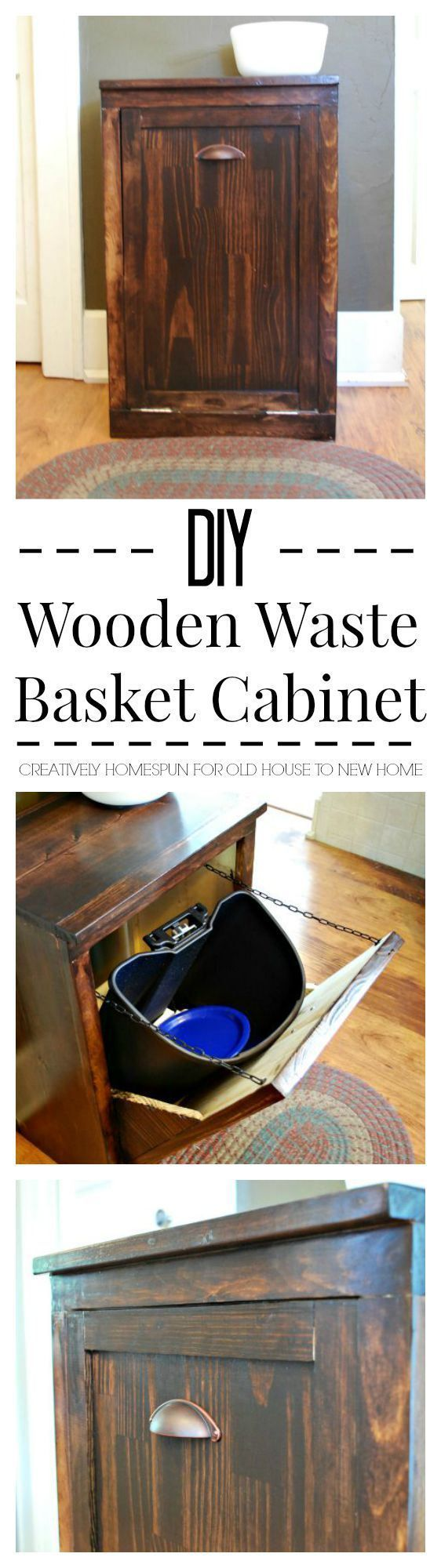 DIY Wooden Waste Basket Cabinet || Creatively Homespun #TheKendigsNewDigs #diy #kitchenreno #oldhousetonewhome