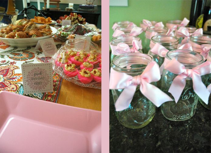Baby Shower Ideas for Girls On a Budget | Baby Shower on a Budget: Food Table and Mason Jar Glasses, lots of ...