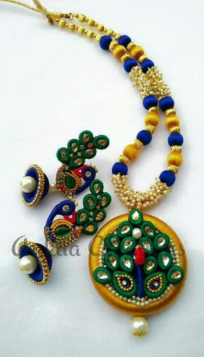 handmade peacock neckset.. plz visit our page https://www.facebook.com/ankaa.creations for more collections and do plz hit a like button..