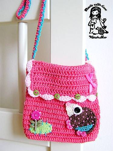 , Crochet Bags, Cartera Ni?a Crochet, Hedgehogs Purses, Crochet ...