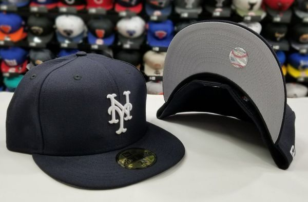 d2f12c9d27fd0 Exclusive New Era 59Fifty NEW YORK METS White on Navy Fitted MLB Hat ...