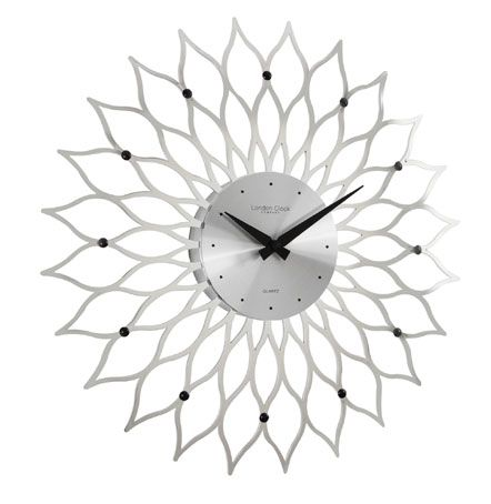HIGH GLOSS SILVER BURST WALL CLOCK
