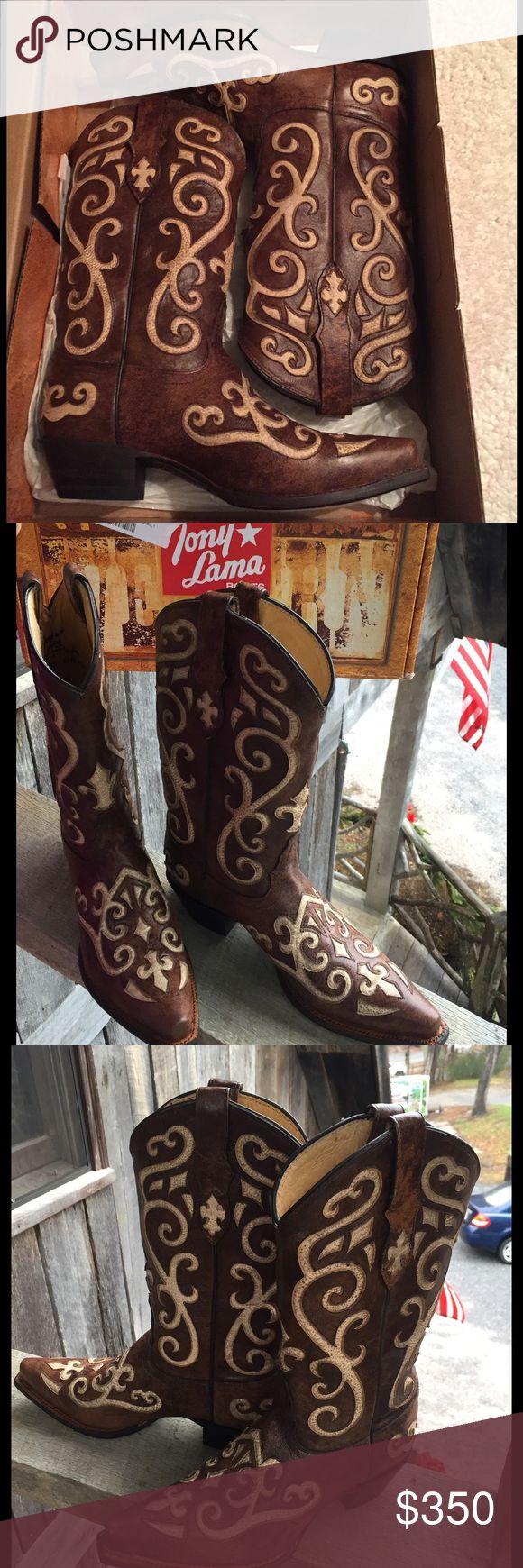 Tony Lama Leather Boot NIB. Women's SIZE- 8. Tony Lama Ladies Leather Vaquero Creme Inlay Boots.  Earth Santa Fe Style # VF3024  RETAIL- $350 These boots are amazingly intricate. They def stand out which is why I bought them.  -*PRICE FIRM*-  Tony Lama Tony Lama Shoes Over the Knee Boots
