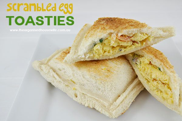 This is a good breakfast for on the go, I call them Scrambled Egg Toasties.  I don't have any fancy machines to remove the crusts and squish the bread together, instead I cut off the crusts and use...