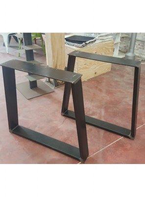 Coppia di gambe in ferro a trapezio finitura ferro nero vintage anticato