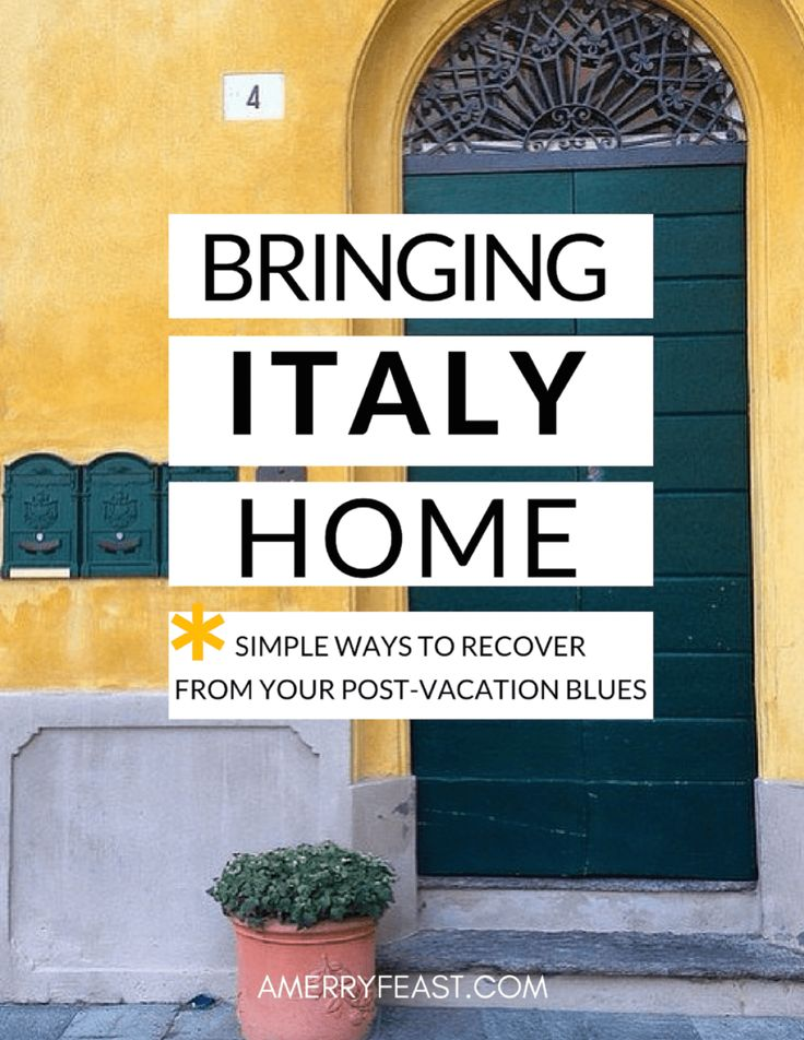 You're back from Italy & missing it like crazy. How do you infuse your life with a little of that la dolce vita? Here are 5 ideas for bringing Italy home. Bringing Italy Home (7 simple ways to recover from your post-vacation blues)