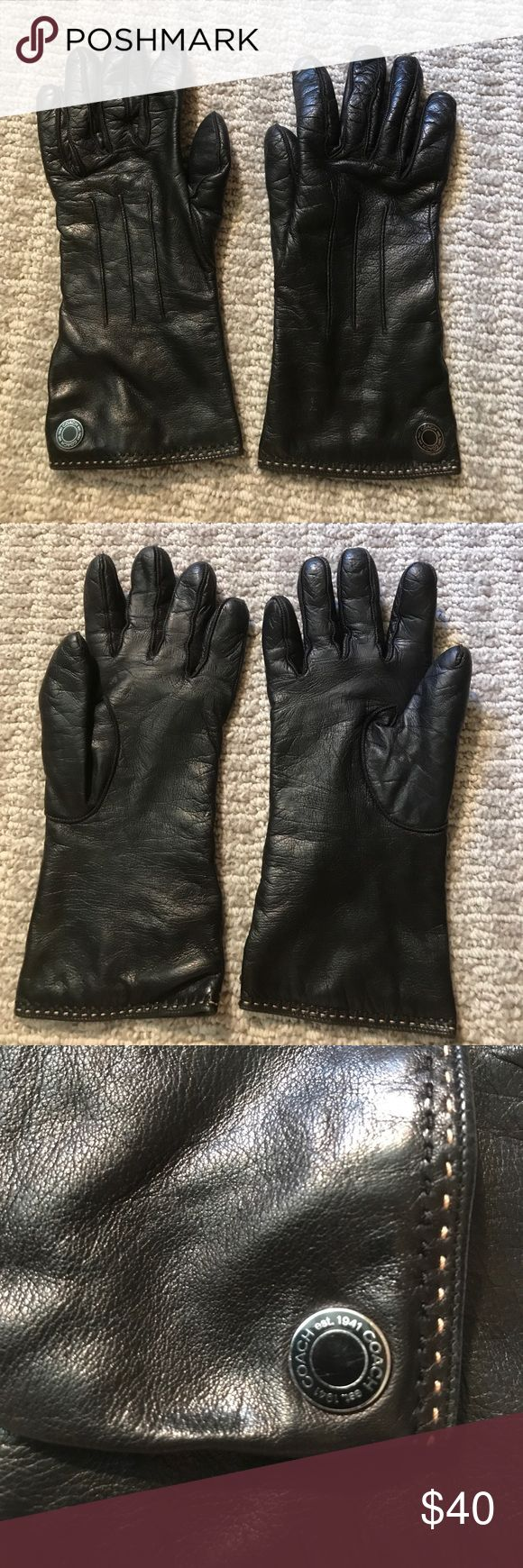 John lewis ladies black leather gloves - Coach Leather Gloves