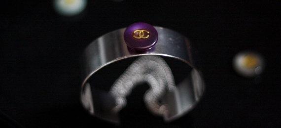 Purple Chanel Button Handmade Metal Cuff FREE by Bijouxhouse, $45.00