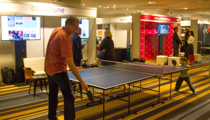 A spot of table tennis on the ATC2015. The conference vendor floor allows delegates to try out leading recruitment technology and solutions.