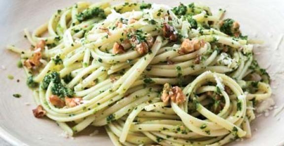 Linguine with Broccoli Rabe - Walnut Pesto | KitchenDaily.com: Sauces Recipe, Rabe Walnut Pesto, Broccoli Pesto, Pasta Dishes, Salad Recipe, Broccoli Rabe Walnut, Pasta Sauces, Pesto Recipe, Pasta Recipe