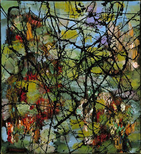 Marcel Barbeau, né à Montréal en 1925, Au château d'Argol, vers 1946-1947, huile sur toile.