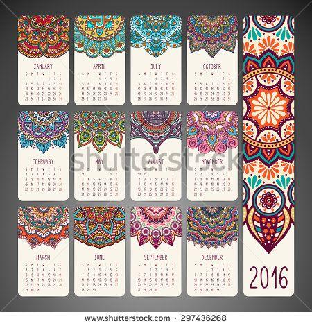 Calendar 2016. Vintage decorative elements. Oriental pattern, vector illustration.  Islam, Arabic, Indian, turkish, pakistan, chinese, ottoman motifs