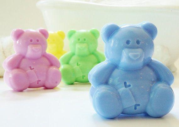 TEDDY BEAR Natural Soap  Choose Soap Color handmade por crimsonhill